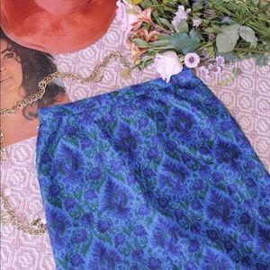 Vtg 70s Cobalt blue Botanical Garden Maxi Skirt M